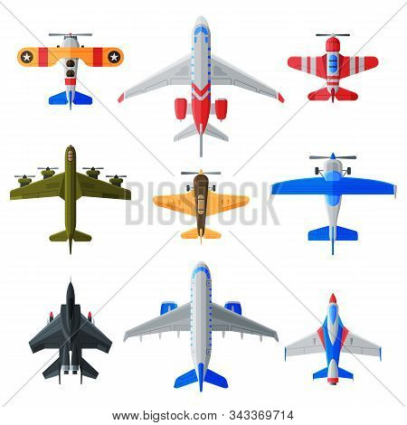 Flying Aircrafts Collection, Various Civil And Military Airplanes, View From Above, Air Transport Ve