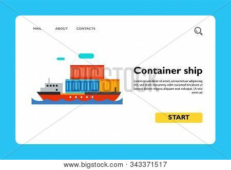 Icon Of Container Ship. Cargo Ship, Floating, Containerization. Seaport Concept. Can Be Used For Top