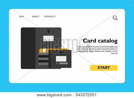 Icon Of Card Catalog. Information, Library, Secrecy. Archive Concept. Can Be Used For Topics Like Da