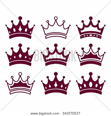 Set Of Red Crown, Crown Icon Vector In Modern Flat Style For Web, Graphic And Mobile Design. Crown I