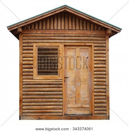 Wooden cottage log cabin chalet hut isolated on white background