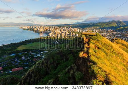 View From Diamond Head Crater On Honolulu At Sunrise