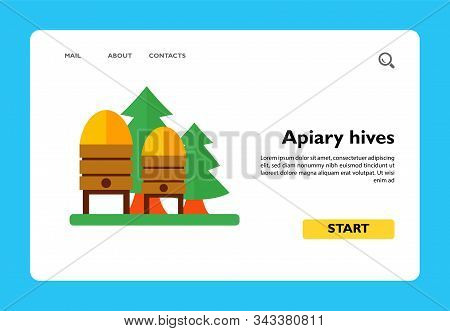 Icon Of Apiary Hives. Colony, Honey, Nectar. Bee Garden Concept. Can Be Used For Topics Like Agricul