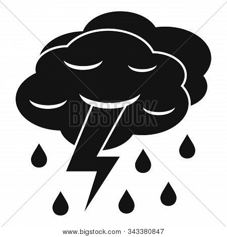 Thunderstorm Cloud Icon. Simple Illustration Of Thunderstorm Cloud Vector Icon For Web Design Isolat