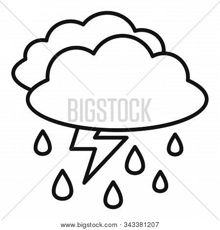 Weather Thunderstorm Icon. Outline Weather Thunderstorm Vector Icon For Web Design Isolated On White