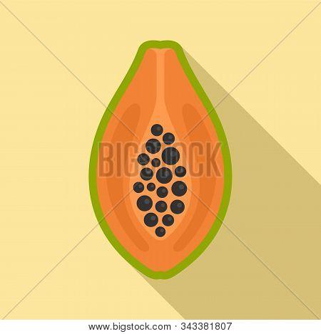 Half Papaya Icon. Flat Illustration Of Half Papaya Vector Icon For Web Design