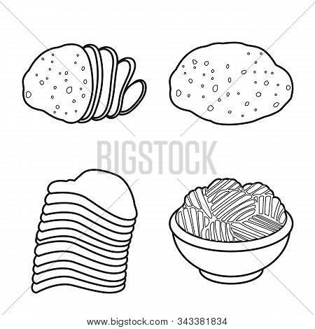 Vector Illustration Of Chips And Crisp Symbol. Collection Of Chips And Food Stock Vector Illustratio