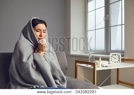Sick Girl With Flu Common Cold Flu Symptoms In Room At Home