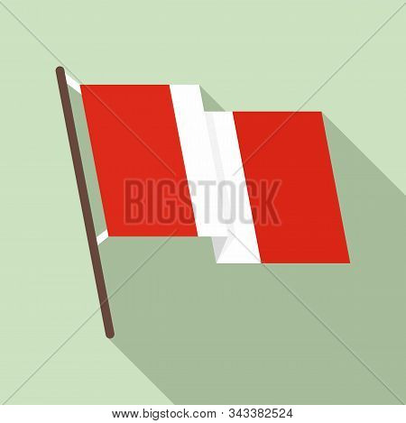 Peru Flag Icon. Flat Illustration Of Peru Flag Vector Icon For Web Design