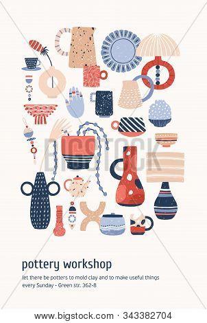 Pottery Workshop Advertising Poster Vector Template. Modern Ceramics, Clay Crockery Flat Illustratio