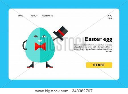 Icon Of Funny Blue Animated Easter Egg Wearing Bowler, Shoes And Red Bow-tie