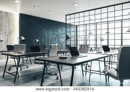 Coworking Office Interior With Panoramic City View And Daylight. Workplace And Lifestyle Concept. 3d