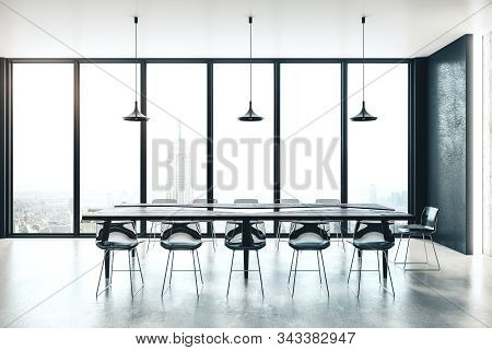 Modern Meeting Room Interior With Daylight. Workplace And Meeting Concept. 3d Rendering
