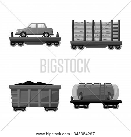 Isolated Object Of Railroad And Logistics Icon. Collection Of Railroad And Transport Stock Vector Il