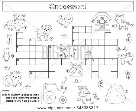 Crossword For Children. Learn Farm Animals. English Vocabulary. Educational Game. Kawaii Vector Cart
