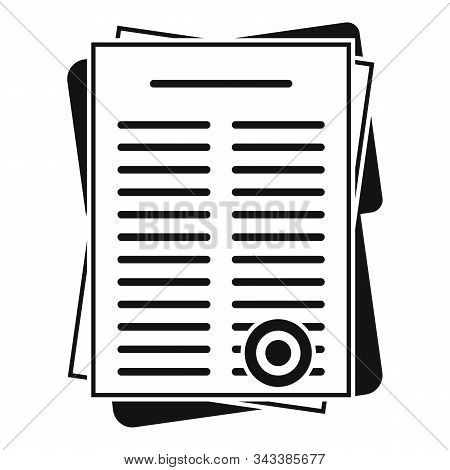 Leasing Papers Icon. Simple Illustration Of Leasing Papers Vector Icon For Web Design Isolated On Wh