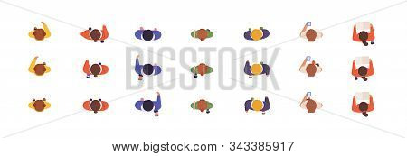 People Models Top View Flat Vector Illustrations Set. Animation Poses, Online Game Development, Char