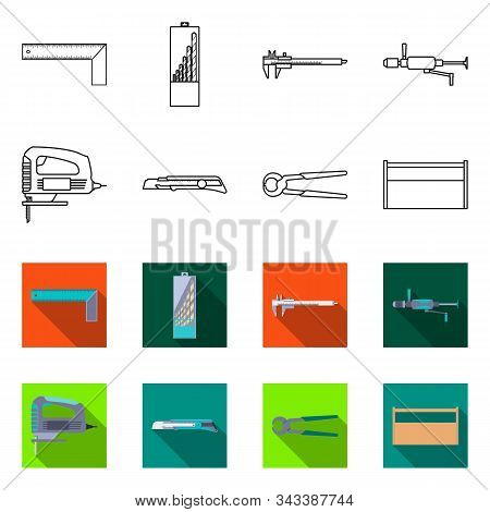 Isolated Object Of Renovation And Household Icon. Collection Of Renovation And Handicraft Vector Ico