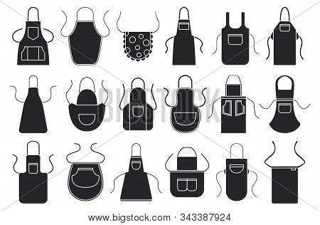 Kitchen Apron Vector Black Icon Set. Isolated Black Set Cook Uniform.vector Illustration Icon Kitche