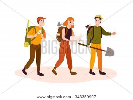Archeologists Team, Researchers Group Flat Vector Illustration. Excited Men And Woman With Archeolog