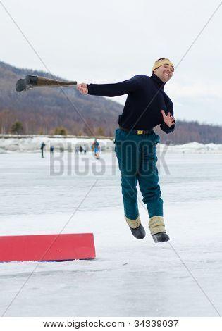 Valenok Throwing At Baikal Fishing 2012