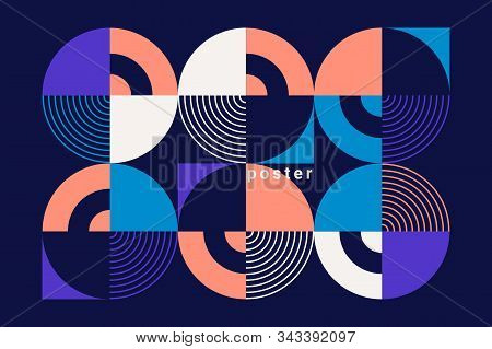 Modern Geometric Abstract Ornament. Colorful Circles, Square And Other Shapes. Dark Blue Background.