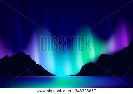 Northern Lights Background. North Dark Landscape. Mountains, Lake Water And Night Sky With Stars And