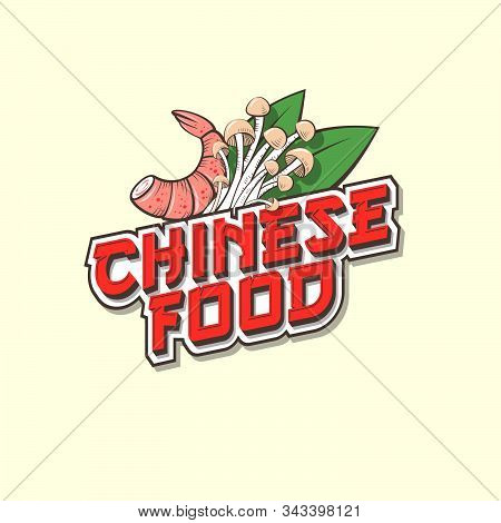 Chinese Food Logo. Red Lettering With Asian Mushroom, Leaves And Shrimp. Emblem Of Traditional Asian