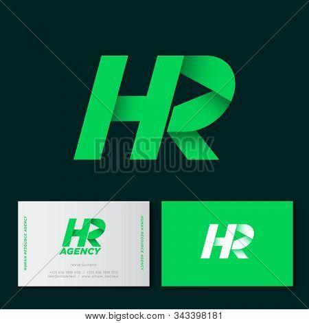 Hr Monogram. H And R Origami Logo. Human Resources Emblem. Business Card.