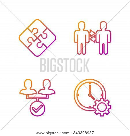 Set Line Time Management, Project Team Base, Piece Of Puzzle And Project Team Base. Gradient Color I