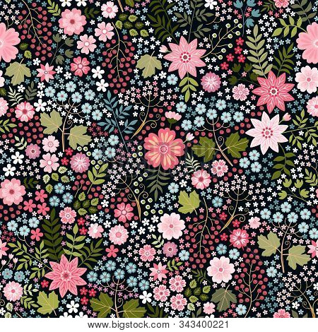 Lovely Ditsy Floral Pattern. Seamless Pattern With Flowers, Leaves And Berries On Black Background.