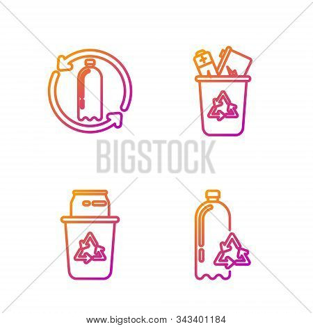 Set Line Recycling Plastic Bottle, Recycle Bin With Recycle Symbol And Can, Recycling Plastic Bottle