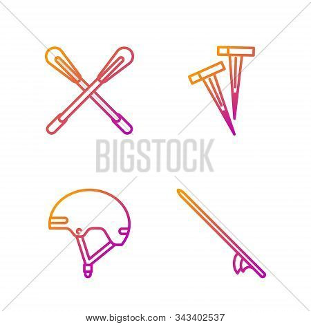 Set Line Surfboard, Helmet, Crossed Paddle And Pegs For Tents. Gradient Color Icons. Vector