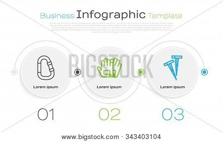 Set Line Carabiner, Gloves And Pegs For Tents. Business Infographic Template. Vector
