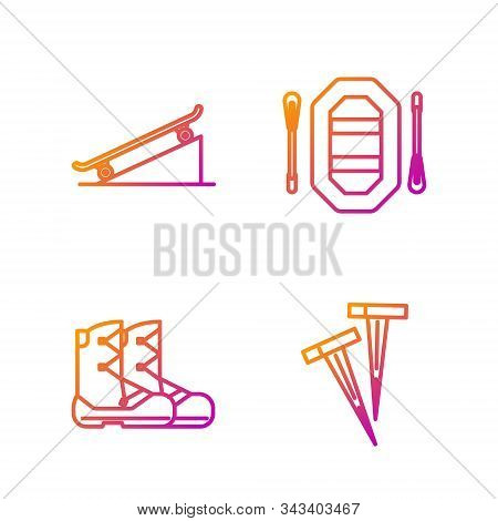 Set Line Pegs For Tents, Boots, Skateboard On Street Ramp And Rafting Boat. Gradient Color Icons. Ve