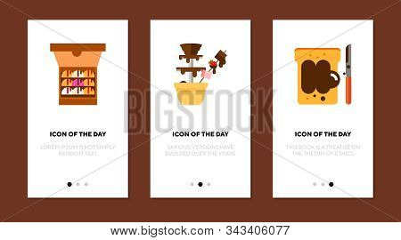 Chocolate Desserts Flat Icon Set. Ice Cream, Paste, Sandwich, Fountain. Sweets, Confectionary, Desse