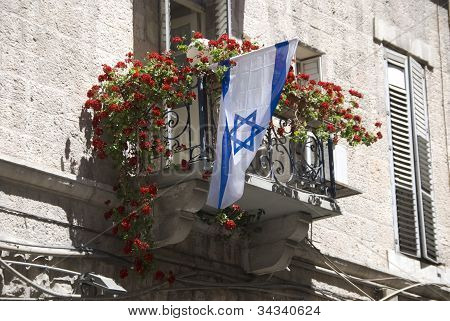 flag of isreal on balcony