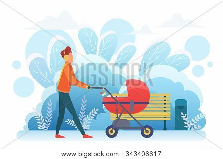 Single Father With Pram Flat Vector Illustration. Young Adult Man, Parent With Baby Carriage, Male B