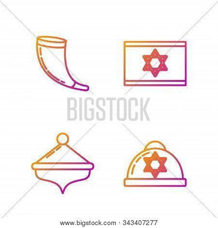 Set Line Jewish Kippah With Star Of David, Hanukkah Dreidel, Traditional Ram Horn, Shofar And Flag O