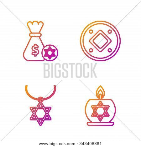 Set Line Burning Candle In Candlestick With Star Of David, Star Of David Necklace On Chain, Jewish M