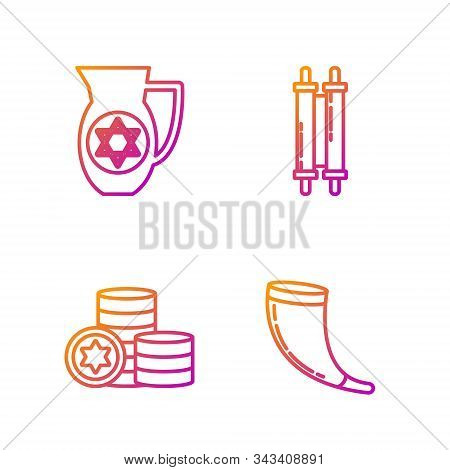 Set Line Traditional Ram Horn, Shofar, Jewish Coin, Decanter With Star Of David And Torah Scroll. Gr