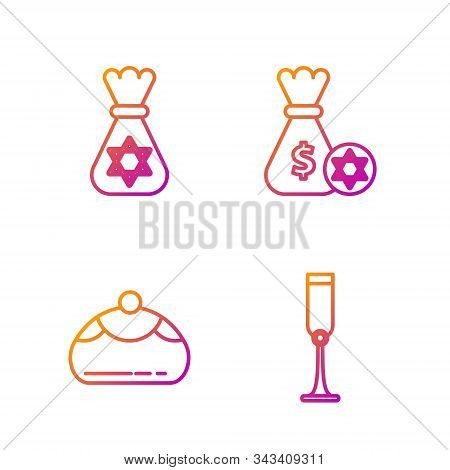 Set Line Jewish Goblet, Jewish Sweet Bakery, Jewish Money Bag With Star Of David And Jewish Money Ba
