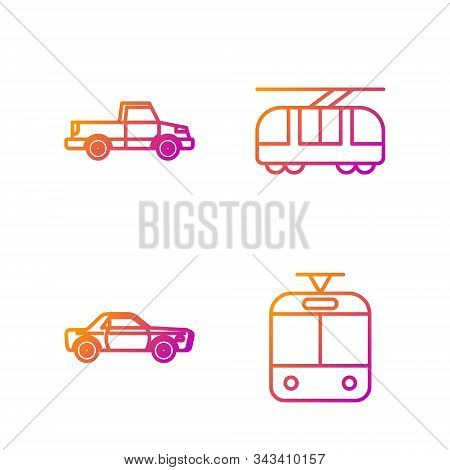 Set Line Tram And Railway, Sedan Car, Pickup Truck And Tram And Railway. Gradient Color Icons. Vecto