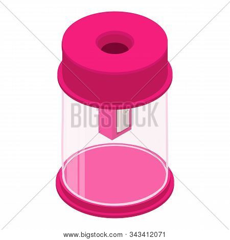 Sharpener Cylinder Icon. Isometric Of Sharpener Cylinder Vector Icon For Web Design Isolated On Whit