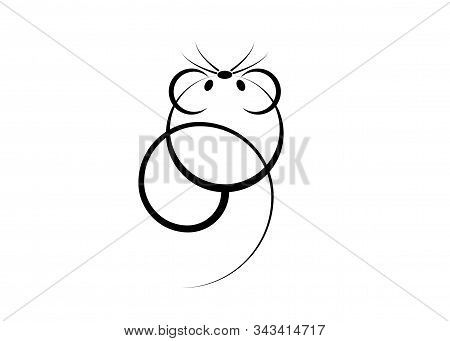 Logo Icon Of A Rat Or Mouse For Web And Print. Minimalist Rat Is The Symbol Of 2020 Logo Chinese New