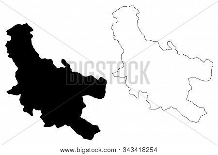 Nisava District (republic Of Serbia, Districts In Southern And Eastern Serbia) Map Vector Illustrati