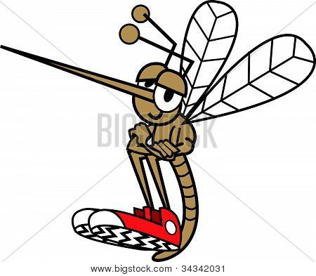 Mosquito sitting with arms folded or crossed and wearing tennis shoes in funny cartoon style poster