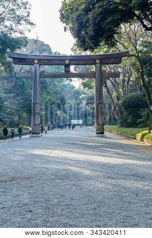 Crowds By Torii Gate Of Meiji Shrine In Shibuya, Tokyo.