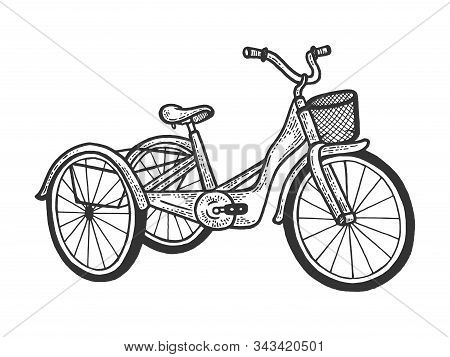 Tricycle Trike Bicycle Sketch Engraving Vector Illustration. T-shirt Apparel Print Design. Scratch B