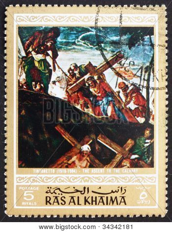 Postage stamp Ras al-Khaimah 1970 The Ascent to Calvary, Paintin